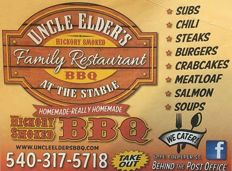Uncle Elder's BBQ sign